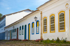 Street scene at Paraty, Brazil. Street of Paraty, a village with portuguese colonial architecture, Rio de Janeiro, Brazil Stock Images
