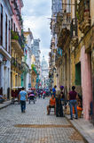 Street scene with people in Old Havana Royalty Free Stock Photo