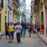 Street scene with people in Old Havana Royalty Free Stock Image