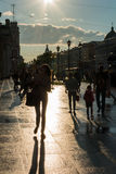 Street scene with people walking along the avenue in Saint Peter Royalty Free Stock Photography