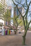 Colorful post boxes and trees in downtown phoenix Arizona stock photo