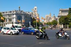 Street scene at Plaza de Cibeles in central Madrid. MADRID,SPAIN - AUGUST 7, 2017 : Street scene at Plaza de Cibeles in central Madrid Stock Photo