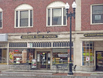 Street scene, Quincy, MA, Gunther Tooties. Quincy Massachusetts street scene with stores Royalty Free Stock Photography