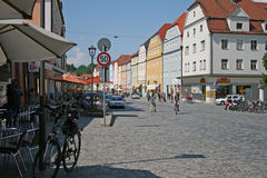 Street scene in Regensburg (Germany). Royalty Free Stock Photos