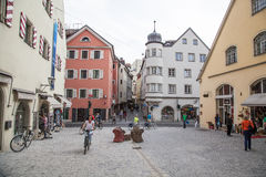 Street scene in Regensburg (Germany). Stock Photos