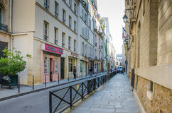 Street scene of Rue Chapon in Paris, France Royalty Free Stock Images