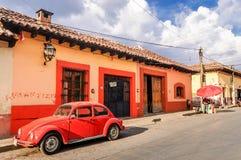 Street scene in San Cristobal de las Casas, Mexico. San Cristobal de las Casas, Mexico - March 26, 2015: Typical street scene in colorful San Cristobal de las stock images