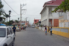 A Street Scene is San Pedro, Belize. The streets of San Pedro are quiet during the day. They get a little more crowded toward evening. San Pedro Town is the Stock Photos