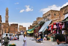 Street scene in Sanaa, Yemen Stock Images