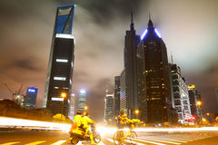 The street scene in shanghai Lujiazui at night,China Stock Image