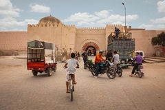 Street scene. sheeps in Bab Khemis. Marrakesh. Morocco. Lorry unloading sheeps in front of Bab el Khemis. Marrakesh. Morocco Stock Images