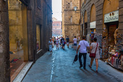 Street scene in Siena, Tuscany, Italy Stock Photos