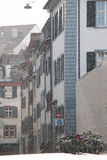 Street scene. Snowstorm in the old town - Basel - Switzerland Stock Photos