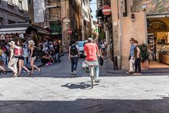 Street scene in Square in Florence royalty free stock image
