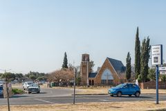 Street scene, with the St Matthias Anglian Church, in Welkom. WELKOM, SOUTH AFRICA, AUGUST 2, 2018: A street scene, with the St Matthias Anglian Church, in royalty free stock images