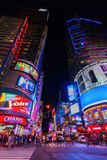 Street scene at Times Square at night in Manhattan, New York City Royalty Free Stock Photos