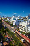 Street scene with traffic and hotels at Collins Avenue in Miami Royalty Free Stock Photography