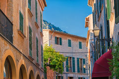 Street scene of Valldemossa with restaurant, cafes and shops. Atmosphere in the idyllic village of Valldemossa on Mallorca in Spain Royalty Free Stock Images