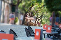 Street scene of Valldemossa with restaurant, cafes and shops. Royalty Free Stock Images
