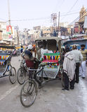 Street scene in Varanasi. Street scene with motor riksha  in Varanasi Royalty Free Stock Photography