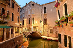 Street scene in Venice, Italy. Street scene along canals of Venice, Italy in evening Stock Photos