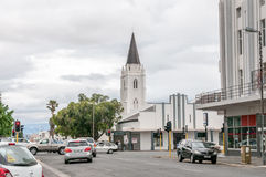 Street scene in Worcester. WORCESTER, SOUTH AFRICA - DECEMBER 2, 2014: Street scene in Worcester, Western Cape Province. The Rhenish Mission Church is visible royalty free stock photos