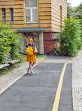 Street scene with yellow fragments in Mitte district. Berlin, Germany. Stock Image
