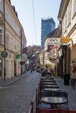 Local street with cafe terrace in Zagreb capital of croatia royalty free stock photography