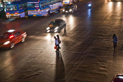 Street Scenery in Bangkok by Night Stock Photo