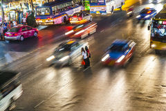 Street Scenery in Bangkok by Night Stock Photos
