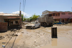 Street Scenes. September 27, 2008 - Teh main streets of Gonaives, Haiti, lie clogged with mud and debris from Hurricane Ike weeks after the storm hit Royalty Free Stock Photos