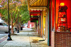Street scenes at night around downtown in clover south carolina Stock Image