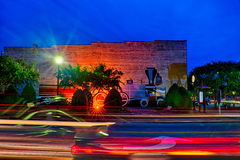 Street scenes at night around downtown in clover south carolina Royalty Free Stock Photography