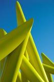 Street Sculpture. Yellow abstract modern street sculpture Royalty Free Stock Photos