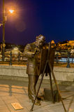 Street sculptures. Statue of famous Hungarian painter Roskovics Ignac. Budapest. Hungary stock photo
