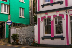 Street in a seaside town, with colorful facades of buildings, en. Glish architecture, travel Stock Photo