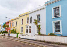 Street in a seaside town, with colorful facades of buildings, en Stock Photography
