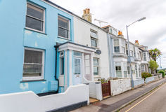 Street in a seaside town, with colorful facades of buildings, en Royalty Free Stock Photography