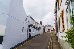 Street in a seaside town, with colorful facades of buildings, en Stock Photos