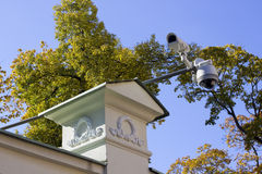 Street security cameras of supervision Royalty Free Stock Image
