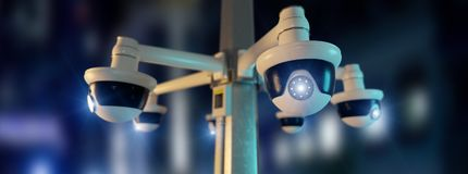 Street security cctv camera filming a night city  - 3d rendering. View of a Street security cctv camera filming a night city  - 3d rendering Royalty Free Stock Photography