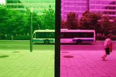 STREET SEEING FROM PALAIS DES CONGRES DE MONTREAL. STREET SEEING FROM INSIDE THE CONGRESS PALACE OF MONTREAL royalty free stock photos