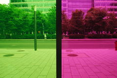 STREET SEEING FROM PALAIS DES CONGRES DE MONTREAL. STREET SEEING FROM INSIDE THE CONGRESS PALACE OF MONTREAL royalty free stock photo
