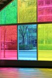 Street seen through the coloured window panes. Royalty Free Stock Images