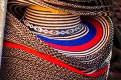 Street sell of traditional hats from Colombia called Sombrero vueltiao stock image