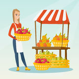 Street seller with fruits and vegetables. Royalty Free Stock Photography