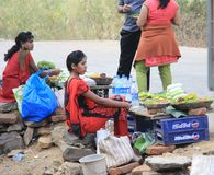 Street seller Girls Royalty Free Stock Photography