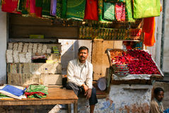 Street seller at the market in India Royalty Free Stock Photo
