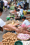 Street seller at the market of Yangon on Myanmar Royalty Free Stock Photography