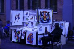 Street seller of paintings. New York, United States - 3 September 2016. Street seller of paintings stock photos